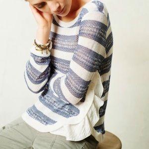 AnthropologieBlue White Stripe Ruffle Side Sweater